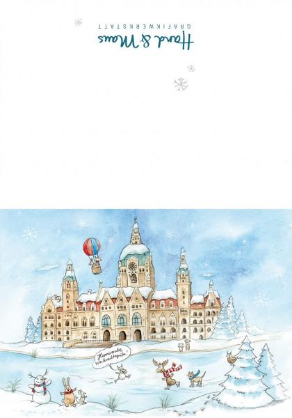 """Hannover Weihnachtskarte """"Neues Rathaus im Schnee"""""""