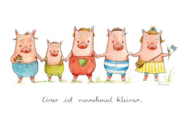 """Postkarte """"Schweinebande"""" - Vorderseite"""