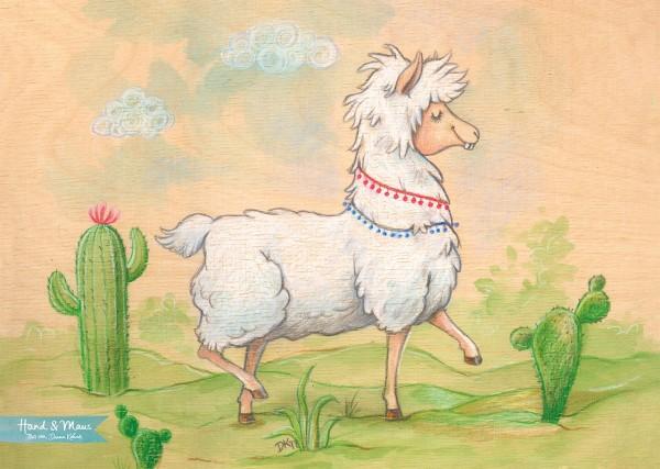 """Poster DIN A3 """"Freundliches Lama"""""""