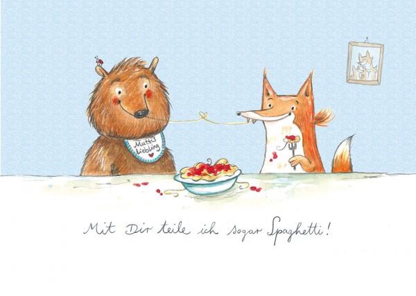 """Poster DIN A4 """"Spaghetti-Freunde, blau"""""""