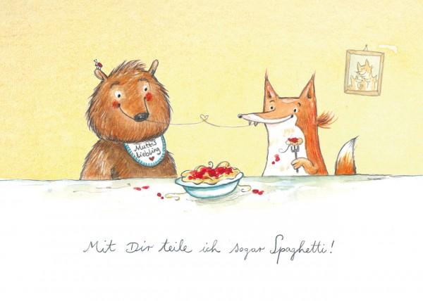 """Postkarte """"Bär und Fuchs"""" - Vorderseite"""