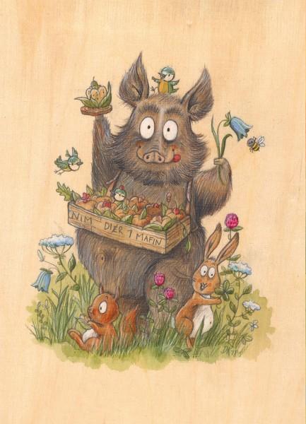 """Postkarte """"Wildschwein"""" - Vorderseite"""