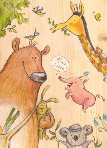"""Postkarte """"Wilde Tiere"""" - Vorderseite"""