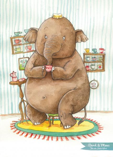"""Postkarte """"Elfie Elefant liebt Sammeltassen"""""""