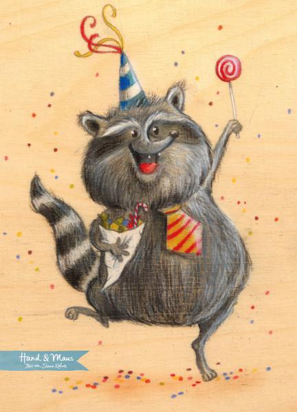"Postkarte ""Partywaschbär"""