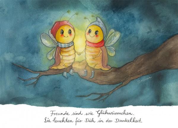"""Postkarte """"Glühwürmchen"""" - Vorderseite"""