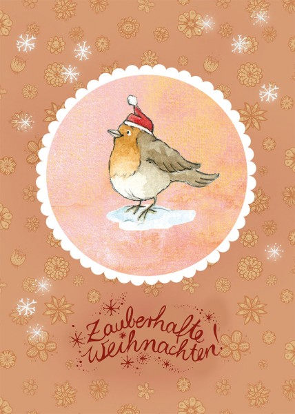 """Postkarte """"Waldtierweihnachtsgrüße – Rotkehlchen"""""""
