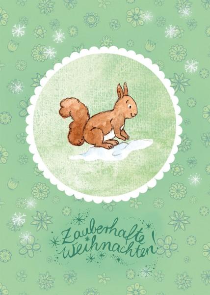 """Postkarte """"Waldtierweihnachtsgrüße – Eichhörnchen"""""""