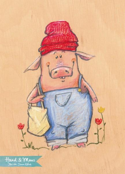 """Postkarte """"Schwein 1"""" - Vorderseite"""